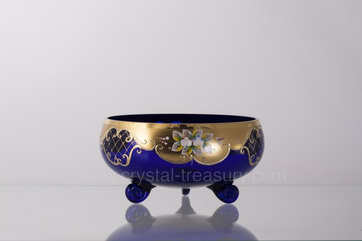 Blue Three Legged Bowl Crystal Treasury Com