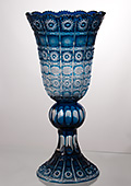 Tall Paula Azur Hand-Cut Crystal Vase