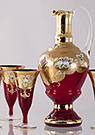 Garnet Red Enameled Wine Set (7pcs)