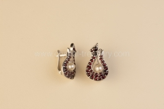 Garnet Earrings Harp
