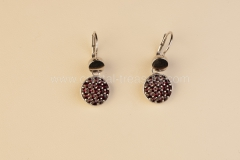 Garnet Earrings Round