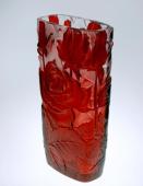 Crystal Glass Red Rose Vase
