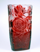 Crystal Glass Red Rose Vase