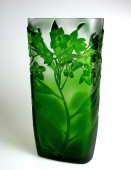 Crystal Glass Green Solanum Vase