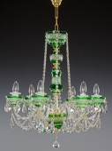 Chandelier 6 arms, green