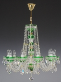Chandelier 10 arms, green