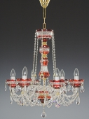 Chandelier 6 arms, red