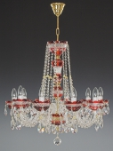 Chandelier 10 arms, red