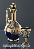 Enameled Blue Wine Set