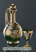 Enameled Green Wine Set