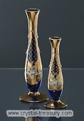 Footed High Enamel Blue Vase