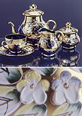Blue Gilded High Enamel Tea Set