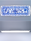 Long Blue Onion Porcelain Tray